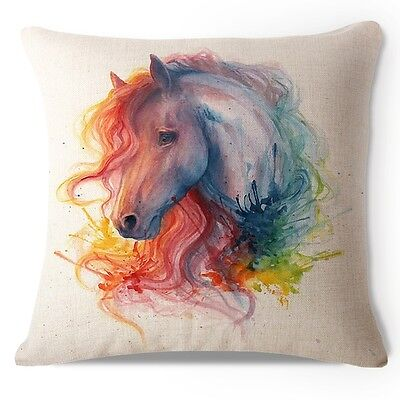 watercolor horse pillow 17x17 in