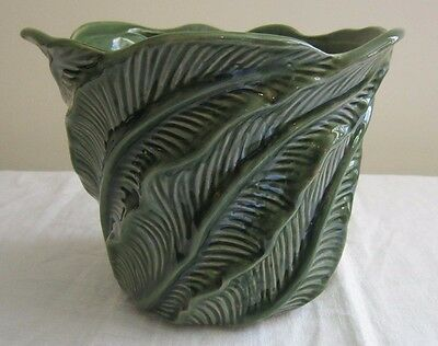 Vintage Green Majolica Planter Jardiniere- Banana? Fern? Palm? Leaves Deep Cuts