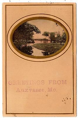 Auxvasse, Missouri - Greetings with a water view in 1909