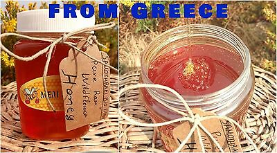 Raw Honey Greek Organic WildFlower Pure Natural From Greek mountains 460 gr