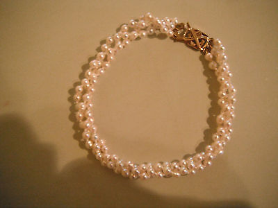 Cultured Pearl Three Strand Bracelet With Gold Clasp