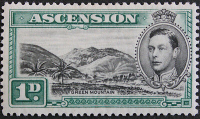 Ascension 1938 1d Green Mountain SG39 Mounted Mint cat value £45