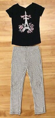 Sonoma Life Style Girls Size 6X Black White Houndstooth Legging Paris Top Outfit