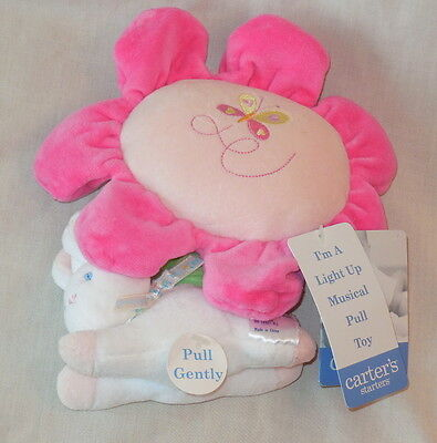 NWT CARTERS Starters Pink Flower White Bunny Soft Plush Crib Pull Toy Muscial