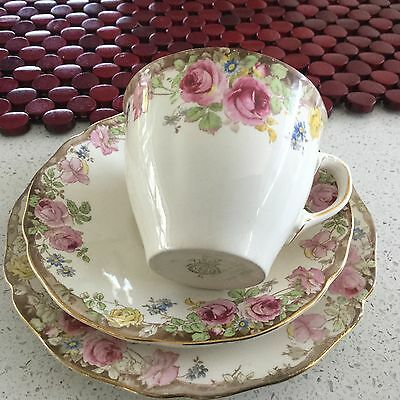 Royal Doulton Bone China  Trio  Antique English Rose D 6071 Made In England