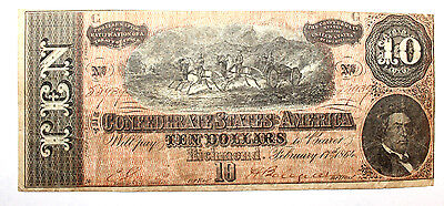 1864 $10 Dollar  Confederate States Currency  Civil War Note  T-68 VERY  FINE