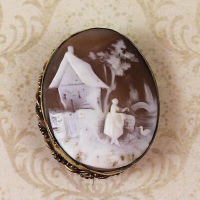 Antique Victorian Rebecca at the Well Hand Carved Shell Cameo Gold Tone Brooch