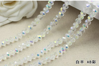 100 (±3) PCS , 6 mm White Colors AB Crystal Faceted Abacus Loose Beads