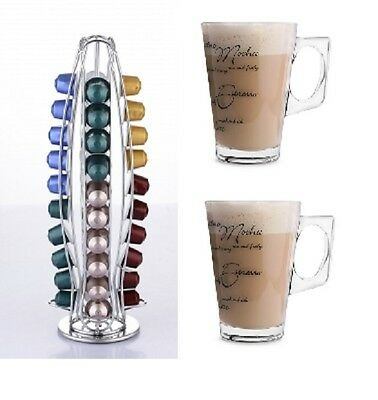 Revolving 40 Nespresso Coffee Pod Stand Holder + 2 Free Script Latte Glasses