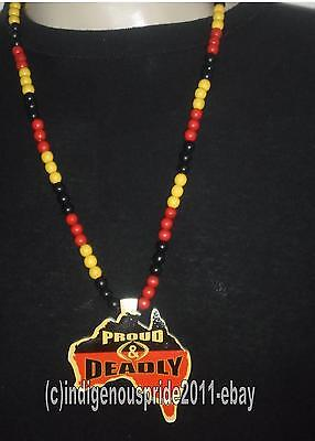 Aborigine Flag/Aboriginal/Proud and Deadly Necklace-GREAT VALUE.HURRY!!