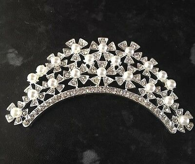4 X Crystal Diamanté And Pearl Hair Comb Bridal Prom Party