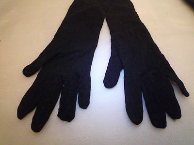 A Vintage Pair of Black Lace Evening Gloves 18 inches
