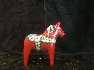 "Nils Olsson Sweden Hand Painted Wood 7 3/4"" Red Horse"
