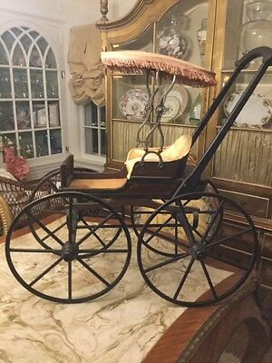 19 Century Elaborate Doll Carriage Joel Ellis Type