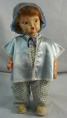 "Vintage Early Terri Lee 16"" Hard Plastic Doll Pajamas Hairnet Bed Jacket"