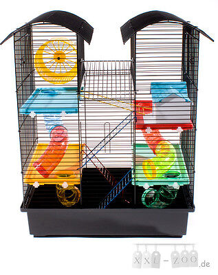 XL Rongeurs Cage a hamster Souris Petit animal CH2 VILLA Tunnel rouge beige