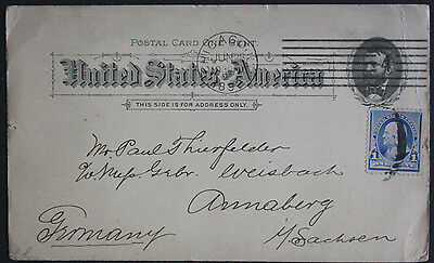 USA 1892 Uprated 1c Postal Card from Chicago WI to Annaberg, Germany