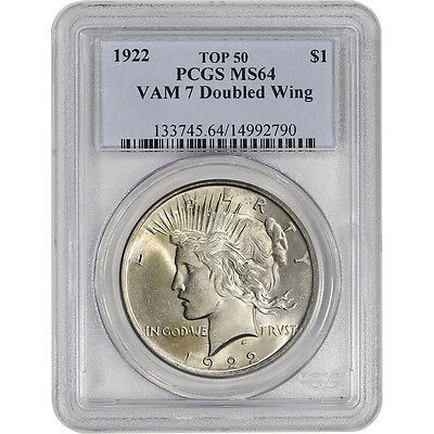 1922 US Peace Silver Dollar $1 - PCGS MS64 - VAM 7 - Doubled Wing - Top 50