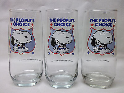 Set of 3 vintage Anchor Hocking Peanuts SNOOPY for President Glass Tumblers lot