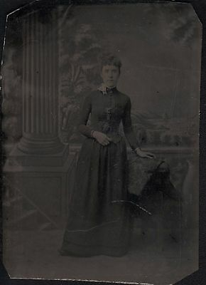 post mortem photo of lady in a dress  tintype