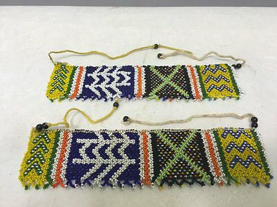 African Zulu Anklet Yellow Black Green Beaded Pair