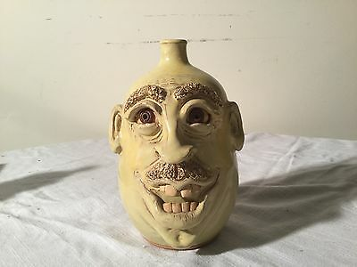 Grotesque Face Jug North Cole Pottery Signed Sandy 2014 Folk Art Pottery