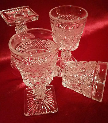 """4 Cape Cod IMPERIAL GLASS Shot / Wine Cordial Square Footed Glasses 4 1/2"""" MINT!"""