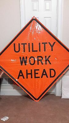 """Construction Work Ahead Vinyl Fluorescent Roll Up Sign With Ribs 66"""" by 66"""""""