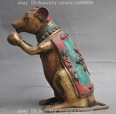 """8"""" chinese bronze Inlay turquoise ruby beryl gem fengshui mouse mice Rat statue"""