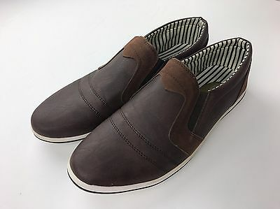 Mens Franco Vanucci Brown Leather Loafer Casual Shoes Sz 8.5 NICE