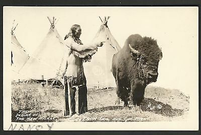 CHIEF IRON TAIL & BISON on New BUFFALO NICKEL COIN 1923 RPPC Real Photo Postcard