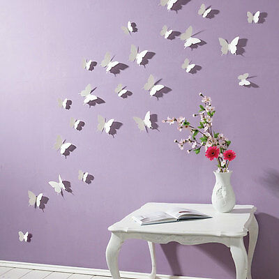 3D Butterfly Wall Stickers White 15PC Butterfly Decorations Art 444