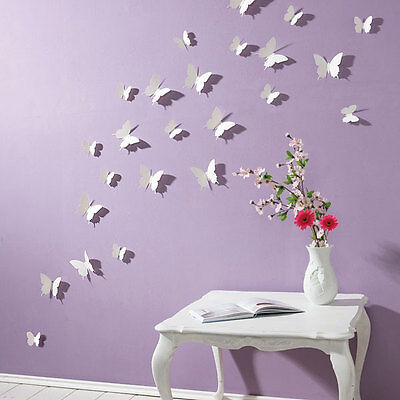3D Butterfly Wall Stickers White 15PC Butterfly Decorations Art 442