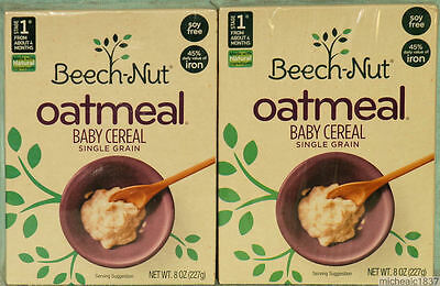 2 - 8 OZ Boxes of Beech-Nut Oatmeal Baby Cereal Single Grain July 2017 Exp. NEW!