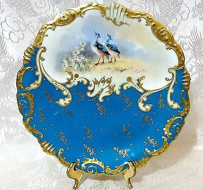 Limoges Coiffe France Handpainted BLUE Cabinet Plate + LS&S Mark~ SIGNED Baik