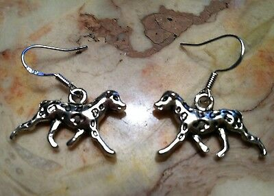 Dalmatian Dog Earrings silver, .925 Sterling Silver Wires animal weiner pet show