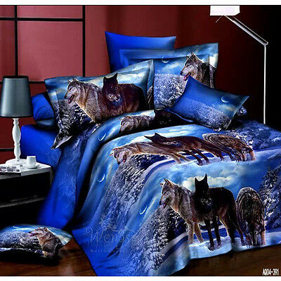 Wolf Quilt Doona Cover Set King Size Bed Linen New Duvet Covers Pillowcases Blue