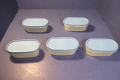 Tupperware Oval 2 Cup Modular Mates With Blue Lids - Set of 5