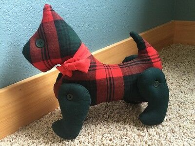 Vintage Handmade Crafted Jointed Scottie Scotty Dog Doll Tartan Plaid Fabric