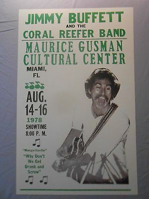 """JIMMY BUFFET & THE CORAL REEFER BAND MIAMI 1978 CONCERT POSTER 14"""" x 22"""""""