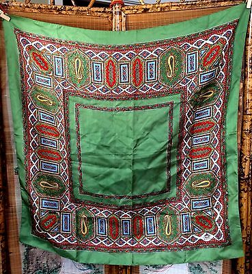 """Vtg Liberty Of London Uk Pure Silk Scarf England-Made Green Red Blue Guc 28"""""""
