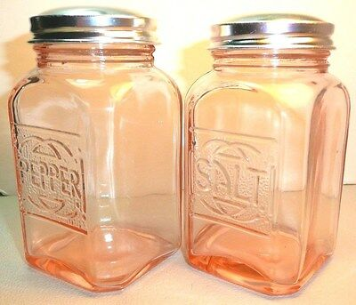 New~Pink Stovetop Salt &Pepper Shakers~Reproduction Depression Glass~Metal Lids