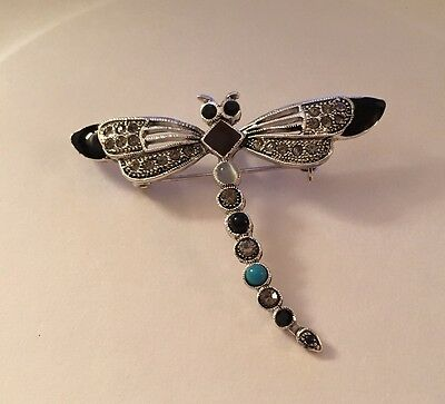 Unusual Large Pink AB Pave Crystal Dragonfly Pin Brooch
