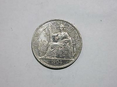 French Indo Chine China 1904 1 Piastre Vietnam Silver Coin Old Collection Lot
