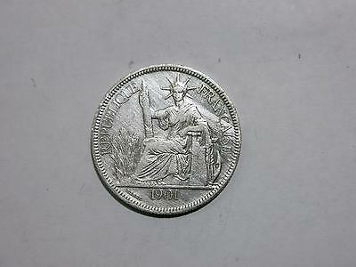 French Indo Chine China 1901 1 Piastre Vietnam Silver Coin Old Collection Lot