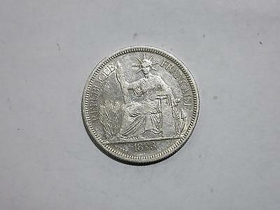 French Indo Chine China 1893 1 Piastre Vietnam Silver Coin Old Collection Lot