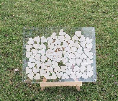 Free 60 hearts Acrylic Wedding Guestbook alternative,drop box frame,Personalized