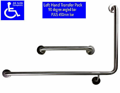 90 DEGREE SAFETY RAIL LH AS1428 450mm GRAB BAR DISABLED TOILET STAINLESS STEEL