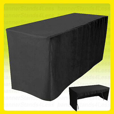 3 SIDED - 8' Fitted Tablecloth Trade Show Event Open Back Table Cover - BLACK
