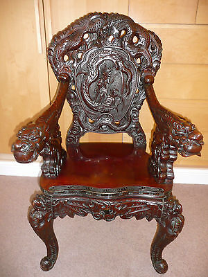 Genuine Antique Chinese Beautifully Carved Dark Hardwood Dragon Chair Armchair..